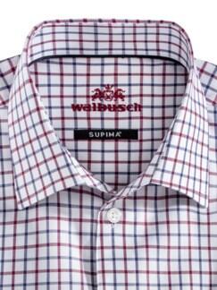 Extraglatt-Hemd SUPIMA Clubkaro Weiss Rot Detail 3