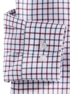 Extraglatt-Hemd SUPIMA Clubkaro Weiss Rot Detail 4
