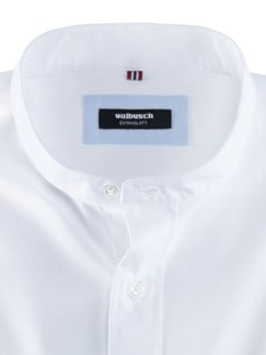 Stehkragen-Hemd Extraglatt Uni Weiss Detail 3