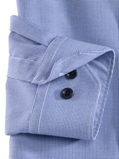 Stehkragen-Hemd Extraglatt Faux Uni Blau Detail 4