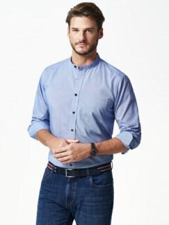 Stehkragen-Hemd Extraglatt Faux Uni Blau Detail 2