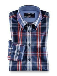 Extraglatt-Hemd Button Down Karo Navy Orang Detail 1