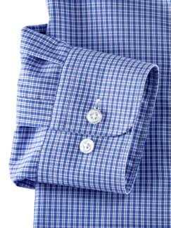 Extraglatt-Hemd Kent-Kragen Karo Blau/Weiß Detail 4