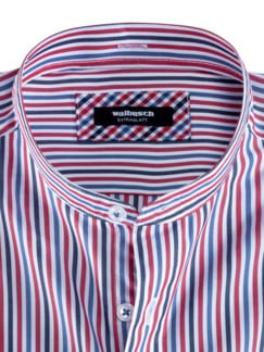 Extraglatt-Hemd Wechselkragen Blau/Rot gestr Detail 3