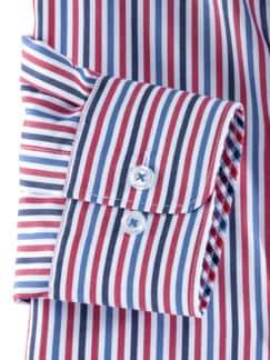 Extraglatt-Hemd Wechselkragen Blau/Rot gestr Detail 4