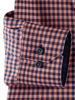 Extraglatt-Hemd Memory-Vichy Orange/Blau Detail 4