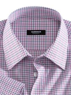 Extraglatt-Hemd Walbusch-Kragen Vichykaro Beere Detail 3