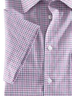Extraglatt-Hemd Walbusch-Kragen Vichykaro Beere Detail 4