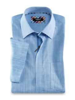 Reißverschluss-Hemd Easycare Uni Blau Detail 1
