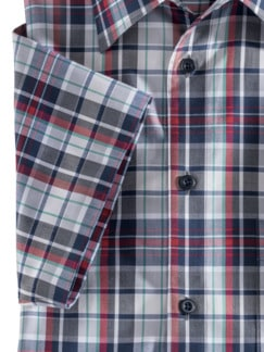 Extraglatt-Hemd Walbusch-Kragen Karo Blau Rot Detail 4