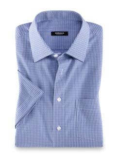 Extraglatt-Hemd Kent-Kragen Karo Blau/Weiß Detail 1