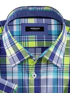 Extraglatt-Hemd Walbusch-Kragen Karo Blau/Gelb Detail 3