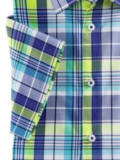 Extraglatt-Hemd Walbusch-Kragen Karo Blau/Gelb Detail 4