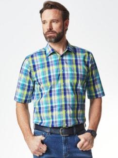 Extraglatt-Hemd Walbusch-Kragen Karo Blau/Gelb Detail 2