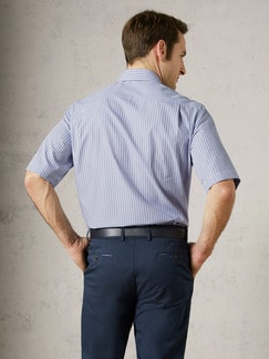 Extraglatt-Hemd Walbusch-Kragen Streifen Blau/Weiß Detail 3