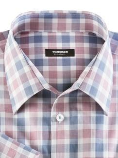 Extraglatt-Hemd Walbusch-Kragen Karo Rot/Blau Detail 3
