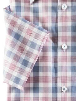 Extraglatt-Hemd Walbusch-Kragen Karo Rot/Blau Detail 4