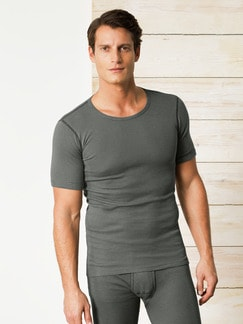 Thermo-Shirt 2er-Pack Oliv gestreift Detail 1