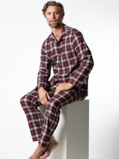 Softflanell Pyjamahemd Karo Rot Detail 2
