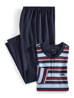 Streifen Pyjama Regatta Hellblau/Marine Detail 1