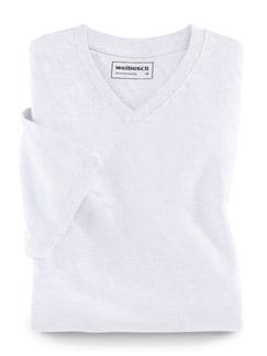 T-Shirt V-Ausschnitt Weiß Detail 1