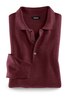 Merino-Mix Polo-Pullover Bordeaux Detail 1