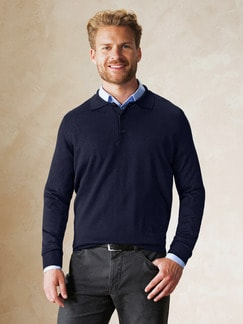 Merino-Mix Polo-Pullover Marine Detail 2
