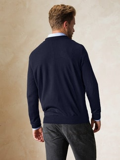 Merino-Mix Polo-Pullover Marine Detail 4
