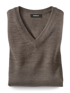 Merino-Mix V-Pullover Taupe Detail 1