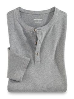 Henley-Shirt Grau meliert Detail 1