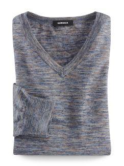 Leinen-Pullover Ultraleicht Blau/Beige Detail 1