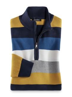 Streifen-Troyer Pima Cotton Kobalt/Gelb Detail 1