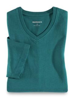 T-Shirt V-Ausschnitt Smaragd Detail 1