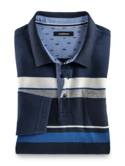 Thermo-Polo Supersoft Blau gestreift Detail 1