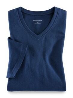 T-Shirt V-Ausschnitt Blau Detail 1