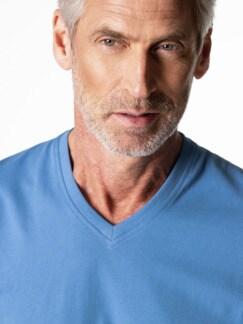 T-Shirt V-Ausschnitt Mittelblau Detail 4