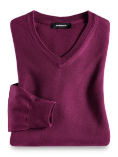 Merino-Mix V-Pullover Magenta Detail 1