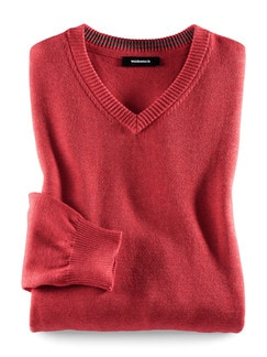 V-Pullover Cashmere Touch Lobster Detail 1