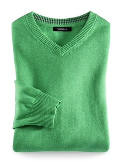 V-Pullover Cashmere Touch Grün Detail 1