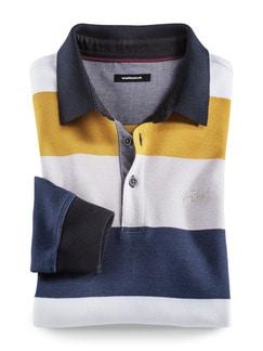 Polo-Pullover Maritim Breit Gestreift Gelb Detail 1