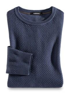 Rundhals-Pullover CashCotton Jeansblau Detail 1