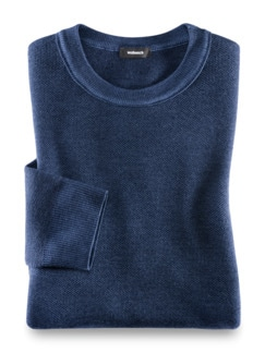 Merino Pullover Farbeffekt Indigo Detail 1