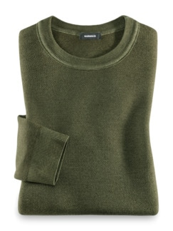 Merino Pullover Farbeffekt Farngrün Detail 1