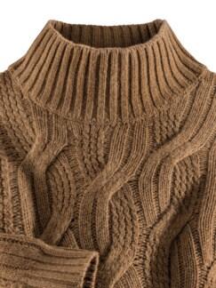 Zopfstrick-Pullover Baby Alpaka Tabak Detail 3