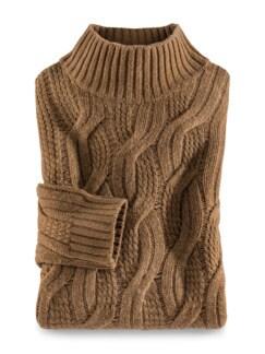 Zopfstrick-Pullover Baby Alpaka Tabak Detail 1