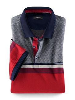 Streifen Polo Rot/Grau Detail 1