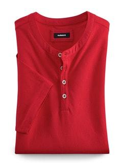 Henley Shirt Kurzarm Rot Detail 1