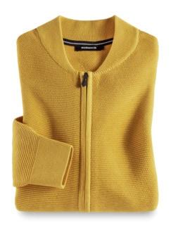 Zip-Strickjacke Soft Cotton Gelb Detail 1