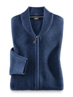 Zip-Strickjacke Soft Cotton Jeansblau Detail 1