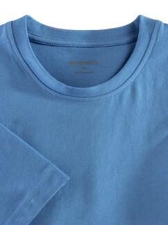 T-Shirt Rundhalsausschnitt Mittelblau Detail 3